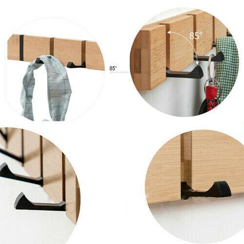 Bamboo Wall Mount Coat Hook Coat Robe Hat Clothe Wall Mounting Hanger Towel Rack