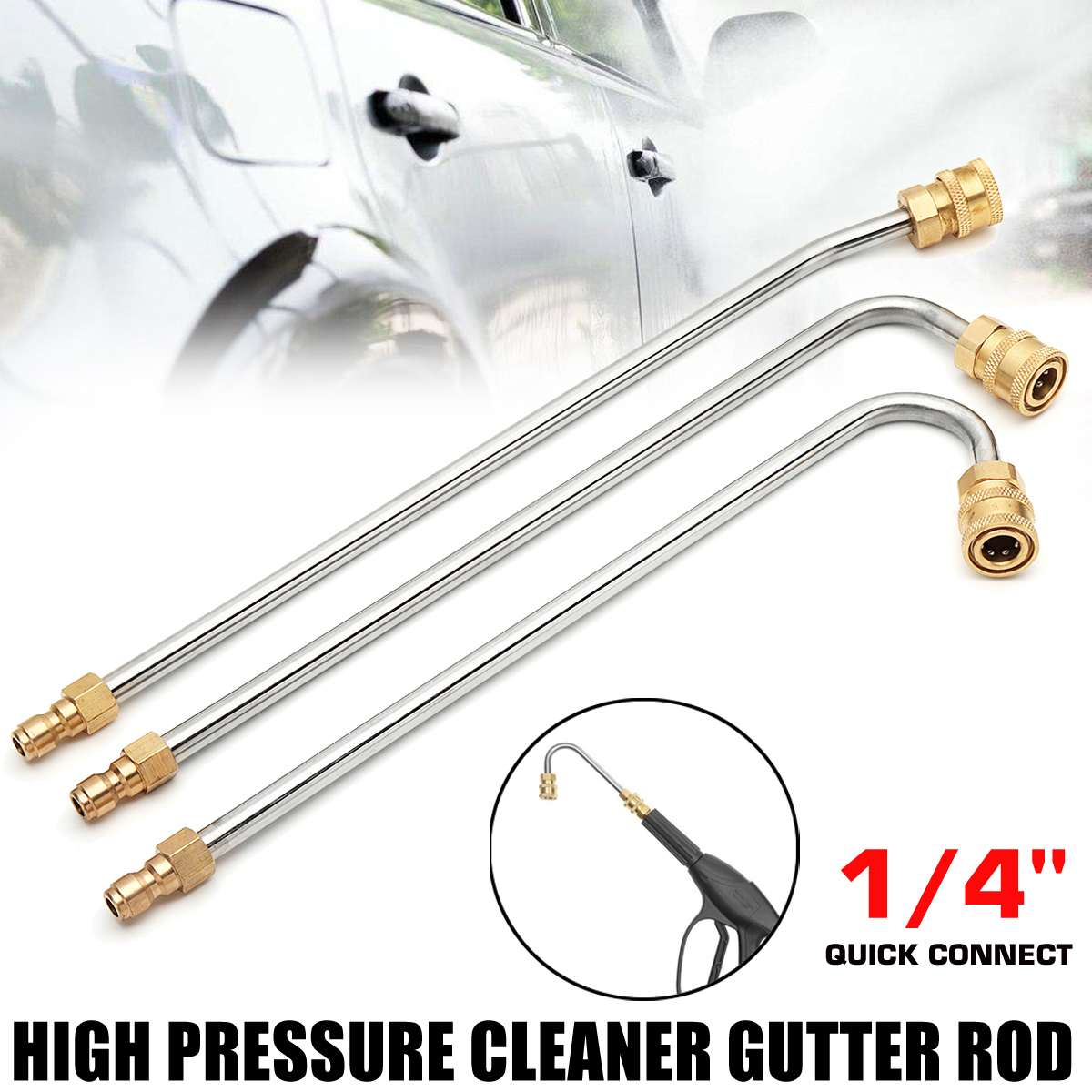 New U Shape / 30/90 gradi Pressure Washer Gutter Rod Cleaner Attachment Lance Wand 1/4 Inch Quick Connect
