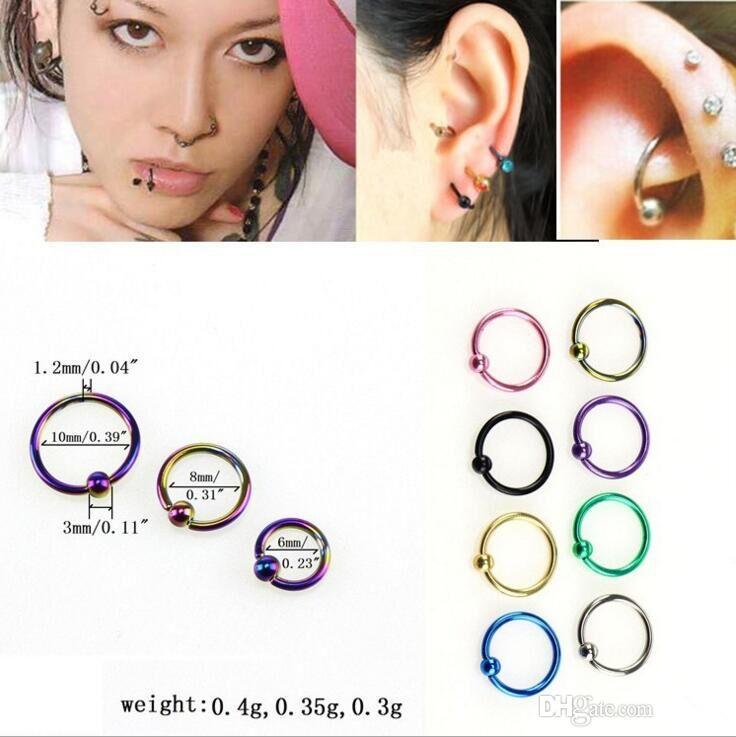 FF Womens Jewelry 16G Stainless Steel Nose Hoop Ring Eyebrow Nipple Bars Rings Earring Body Piercing Studs Slave Jewelry 8mm Pack of 6