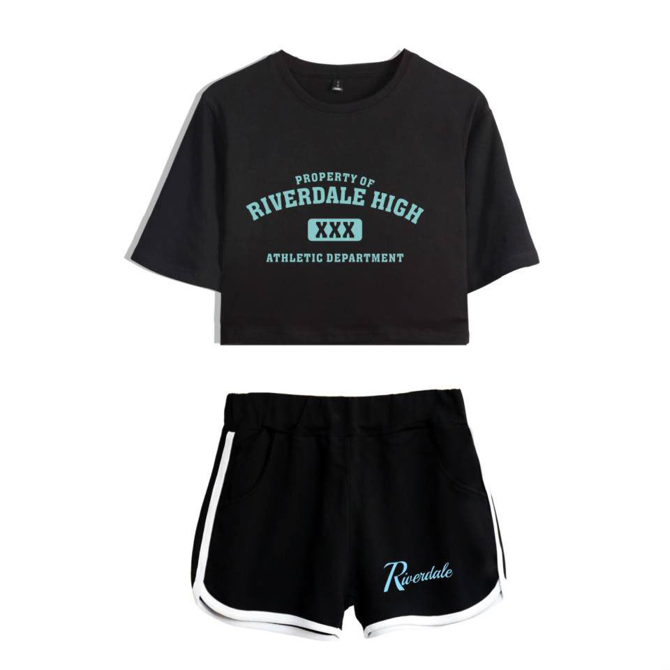 Luckyfriday Riverdale T Shirt Two-piece Summer Print T-shirt Women's Suit Fashion Top + Shorts South Side Serpents Q190522