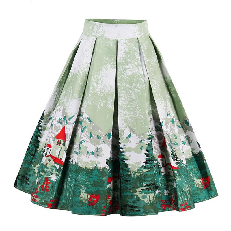 Kostlish Retro Print Flower Summer Skirts Womens High Waist Vintage Skirt Elegant A-Line Midi Women Skirt Plus Size XXL (10)