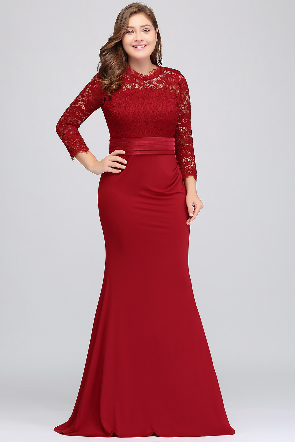 Cheap Lace Mermaid Plus Size Prom Dresses Long Sexy Hollow Out Three Quarter Sleeve Prom Gown With Belt Vestido De Festa Longo Y19042701