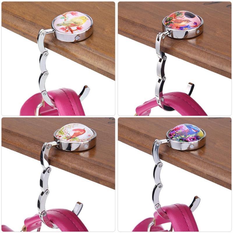 Colorful Pencil Birds Flowes Table Hook Folding Bag Desk Hanger Foldable Holder