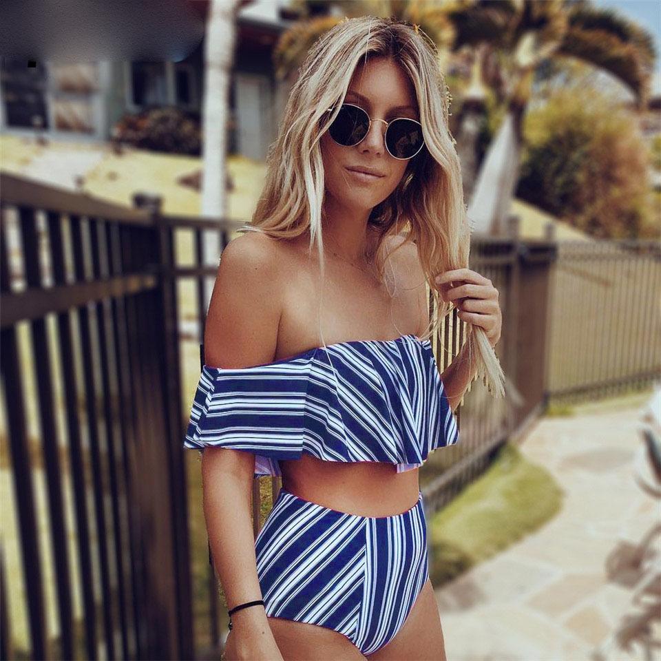 -Sexy-bikini-Set-High-Waist-Swimwear-Women-Striped-Biquini-Ruffled-Swim-Bathing-Suit-White-Blue