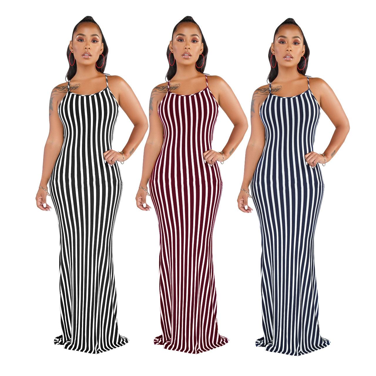 Frauen-Streifen-lange Kleid plus Größen-elegante reizvolle Backless  Abend-Partei-Mode-Sommer-Maxi-Kleid S-XXL