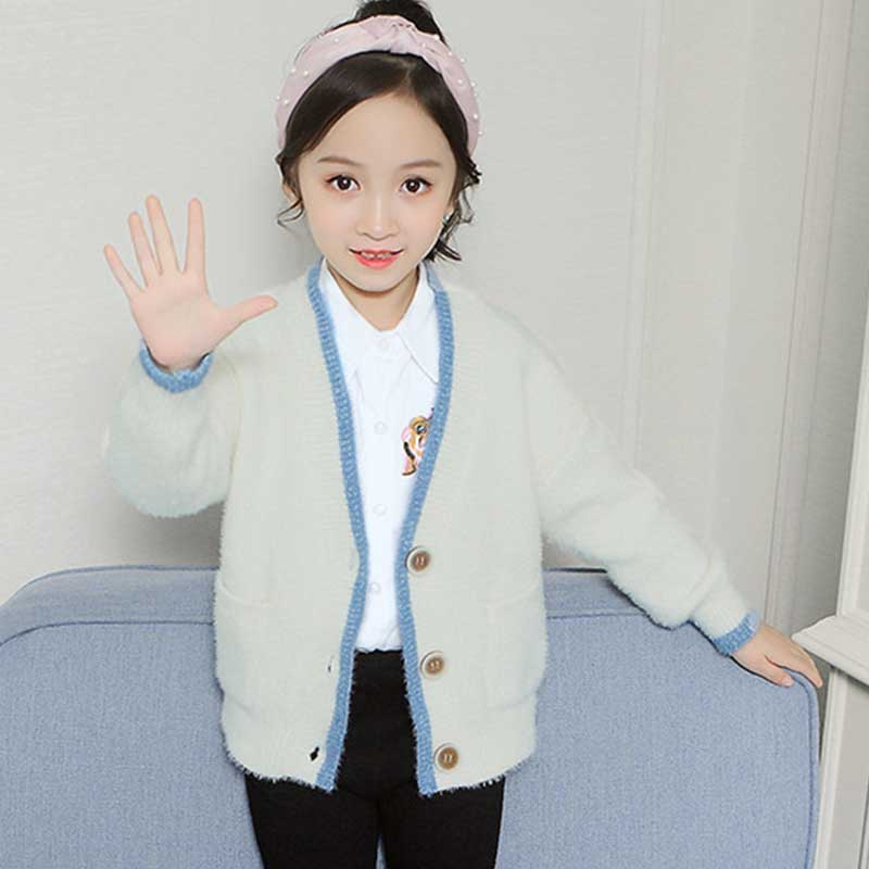 Kids Girls Knitted Long Sleeve Open Front Lace Knit Belt Top Waterfall Cardigan