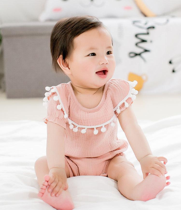 Cute Newborn Baby Girl Romper 2017 Summer short sleeve Princess fur ball Sunsuit One Pieces Tassel Clothes free drop shipping (2)
