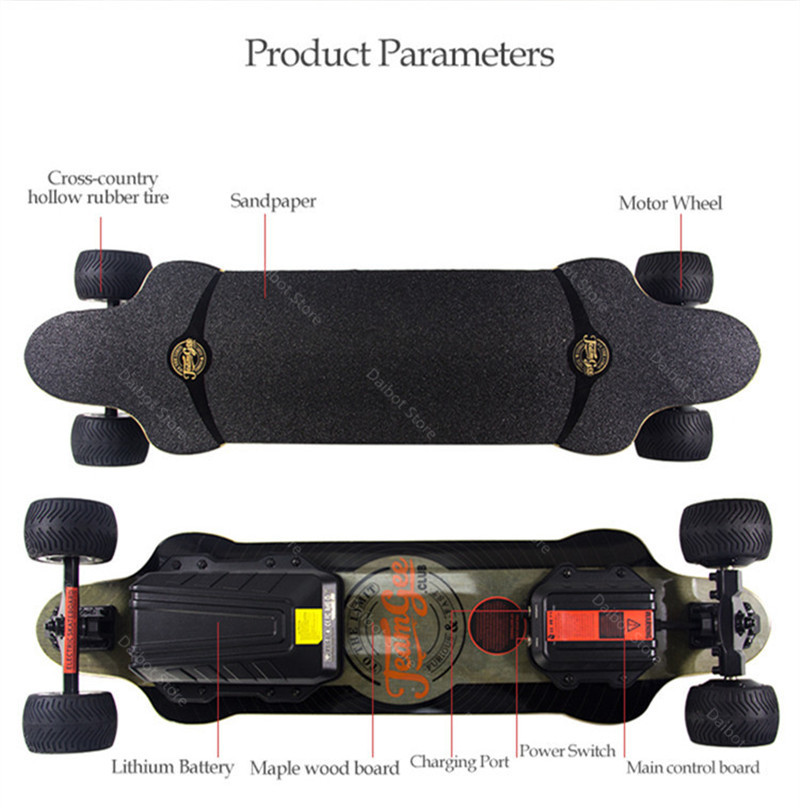 New Electric Scooter Off Road 4 Wheels Electric Scooters Double Drive H20T 36V Four Wheel Electric Skateboard With Rubber Wheels (19)