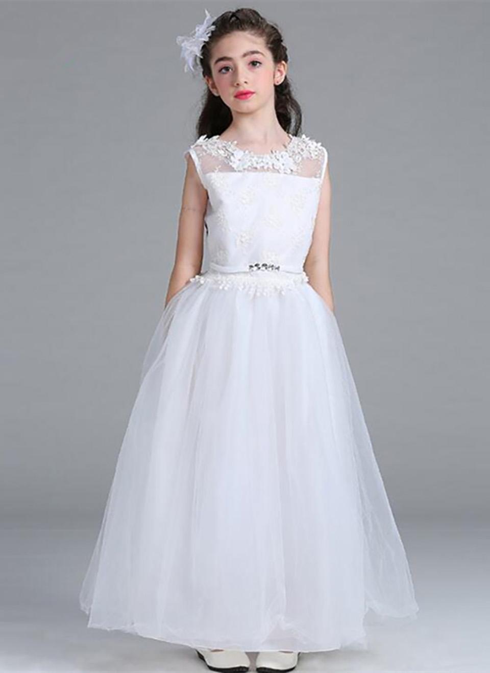 blumen-mädchen-kleid für weddin partei weiße elegante  spitze-tulle-mädchen-formale kleid erstkommunion kleider für jugendliche