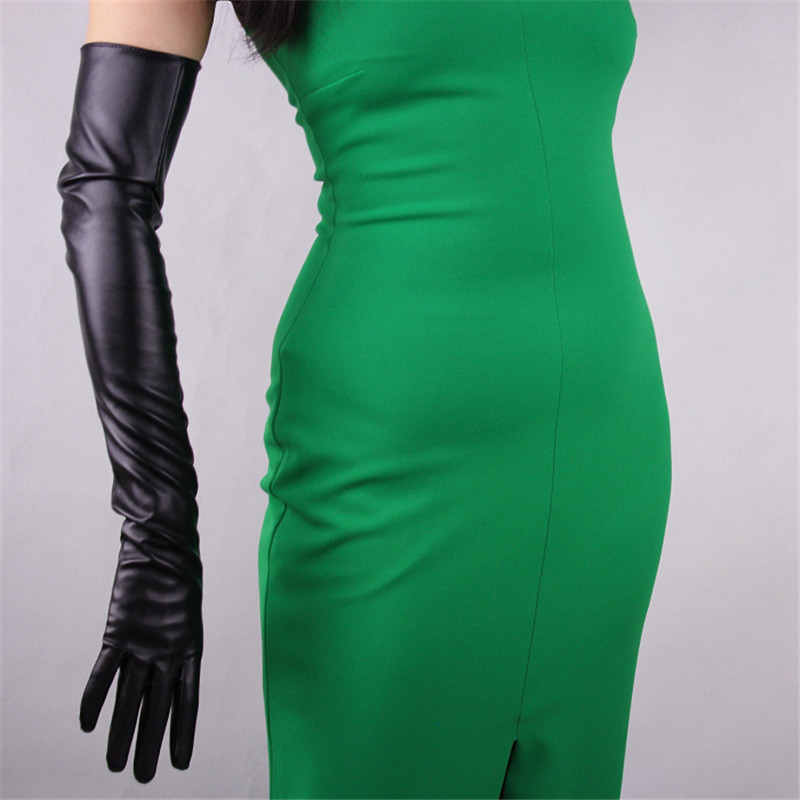 Women/'s Ladies Opera Evening Party Faux Leather Black Winter Warm Long Gloves