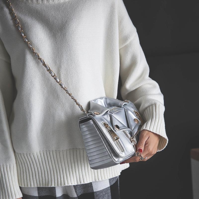 Designer Cool Jacket Shaped Punk Motobike Silver Women Shoulder Bag Mini Crossbody Bag