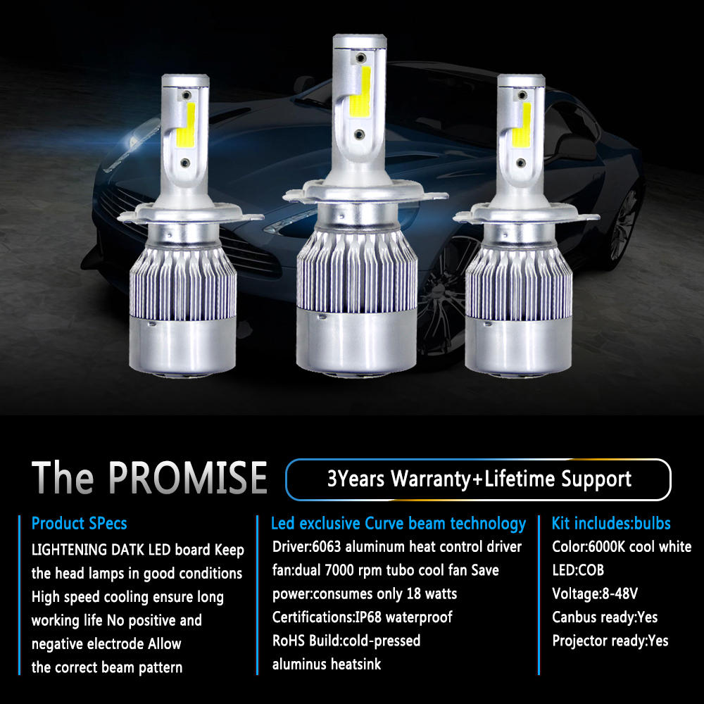 Pair H4/HB2/9003 LED Headlight Conversion Kit 80W 8000LM Dual Beam COB White 6000K Light