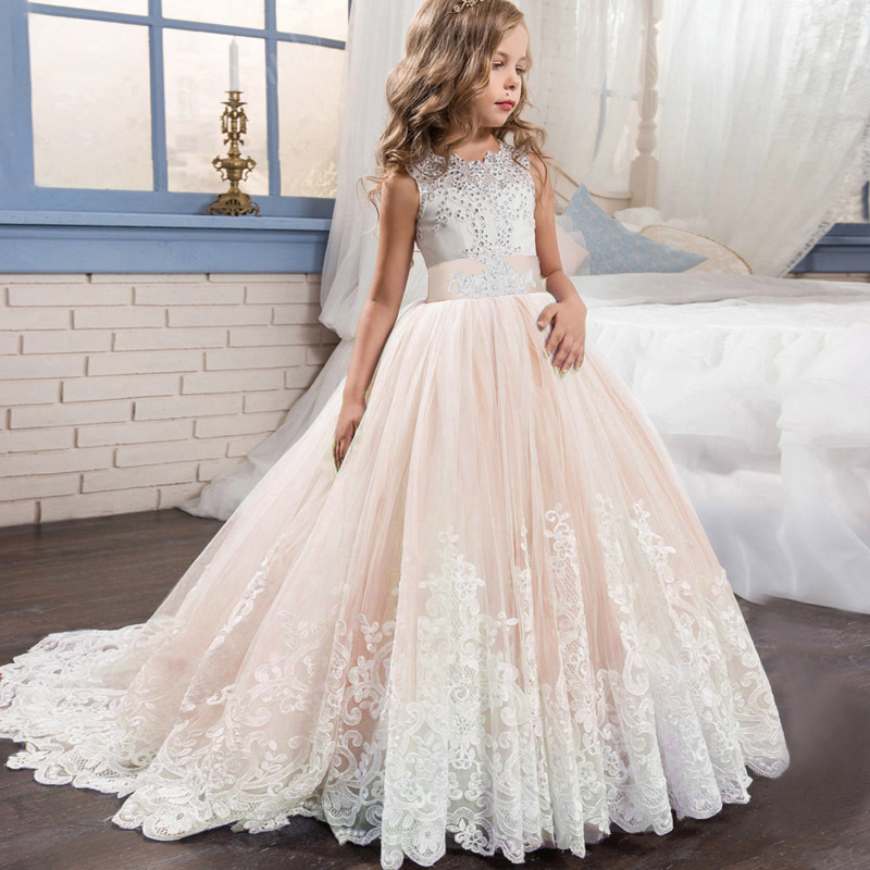 Kids Elegant Bridesmaid Wedding Flower Girls Dress For Girls Party Dresses For Girls Princess Dress Children Clothing 10 12 Year Y19061801
