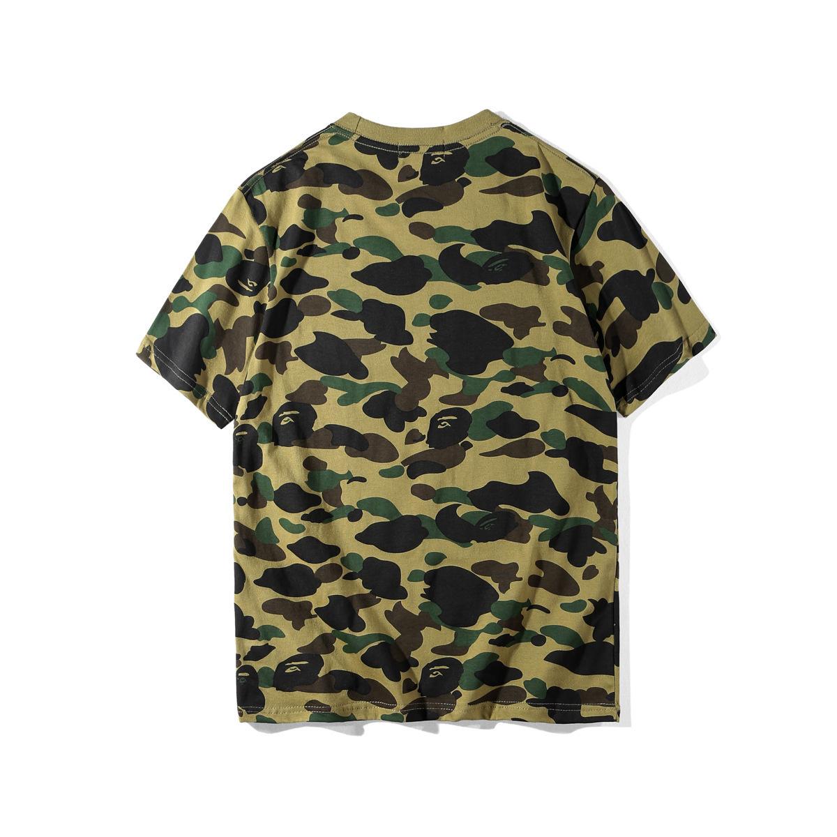 T-Shirt dos homens Camuflagem Dos Desenhos Animados Tempo de Lazer T-shirt Fácil de Manga Curta Camisetas para homens T-Shirt