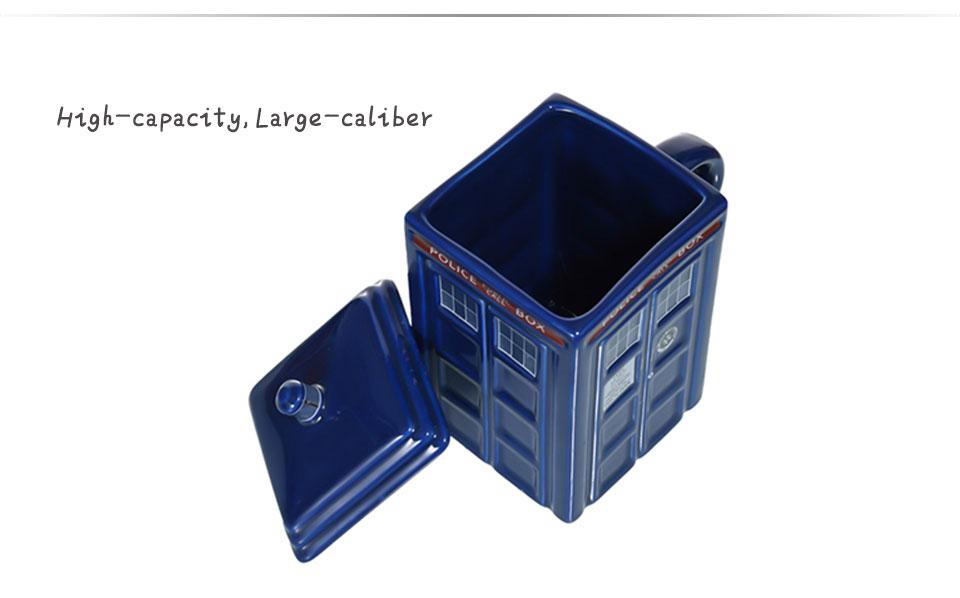 Doctor Who Tardis Police Box Ceramic Mug Cup With Lid Cover For Tea Coffee Mug Funny Creative Gift Christmas Presents Kid Men(3)