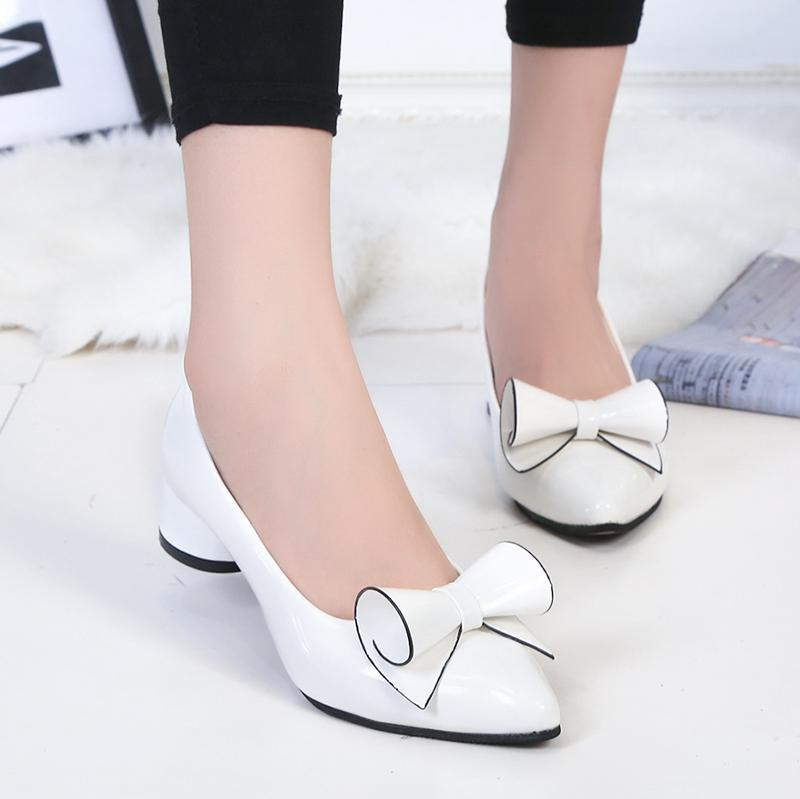 Shoes 2019 Spring Womens Low heel leather Pointed toe woman high Red Bow Slip on dress zapatos mujer Ladies boat