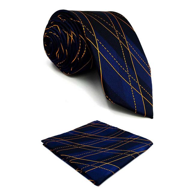 New Classic Fashion Stylish Woven Men/'s Bow Tie Dark Blue Geometric Match Hanky