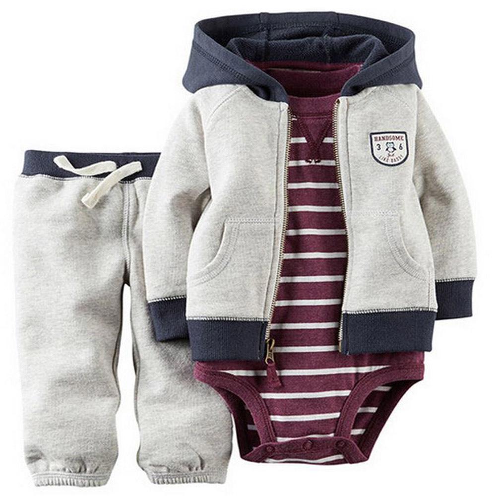 kids baby bebes boy clothes set hooded jacket+rompers+pants infant boy girl clothing Autumn Spring children suits newborn set