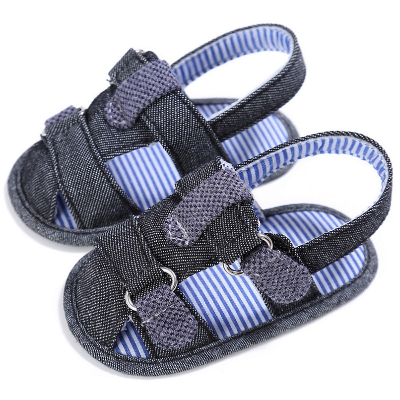 2 Color Summer Fashion Baby Boys Sandals Toddler Infant Kids Baby Boys Canvas Anti-slip Sole Crib Sandals Shoes M8Y02 (4)