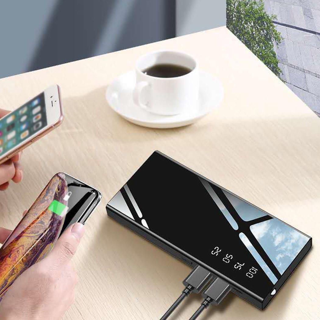 Carregador lustroso da exposição digital do espelho do banco móvel novo do poder com o carregador lustroso novo da luz do diodo emissor de luz