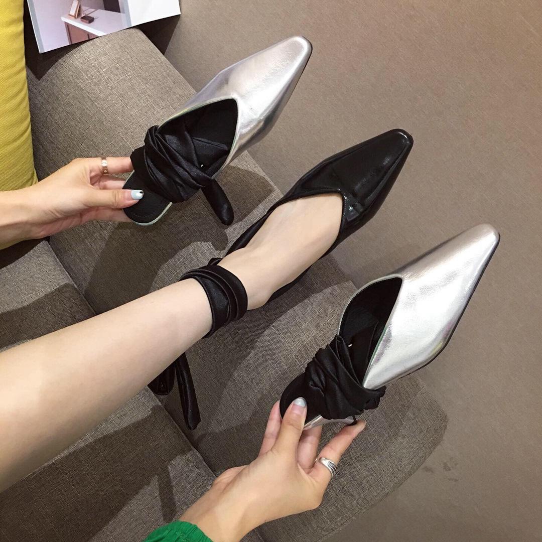 Diğer Yarım Muller Baotou Terlik İki Chalaza Wild2019 Kadın Ayakkabıları Sandalet