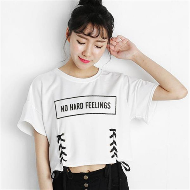 Merry Pretty New Summer Crop Tops Women T Shirt Letter Print Short Sleeve Lace Up Cotton Loose Sexy White T-shirt Dance Tee Tops GMX190705