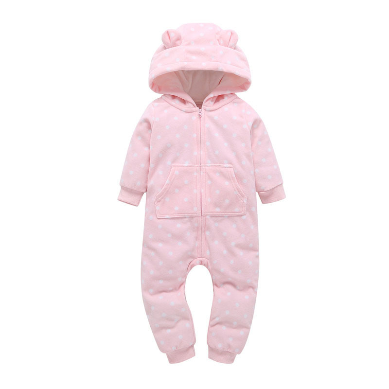 autumn winter infant baby boy girl clothes long sleeve hooded outwear jumpsuit overalls new born one piece romper polka dot pink