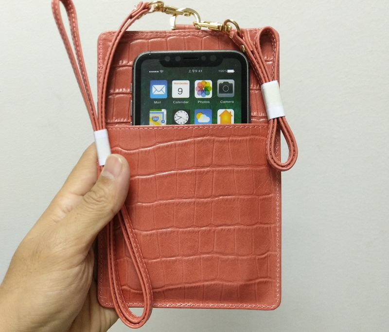 pink card holder leather pouch bag case