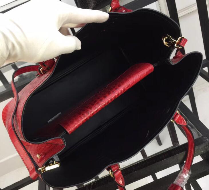1bg820 36cm Manijas dobles Bolsos de piel de cocodrilo, bolsos con diseño de cocodrilo, 1 bolsillo con solapa interior, forro de napa con bolsa para el polvo