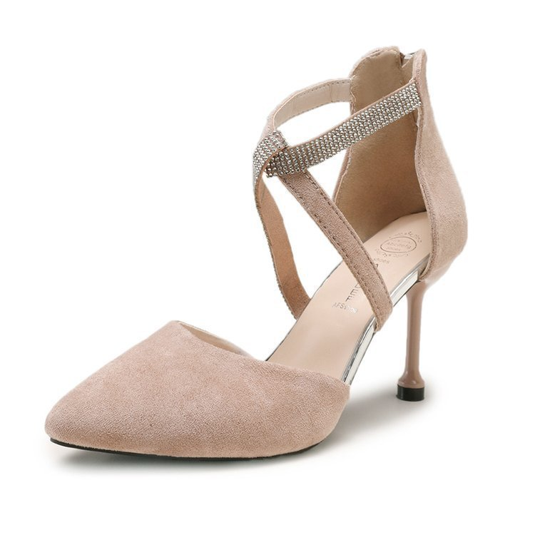 Fashion2019 High-heeled Girl French Shoes Season Sexy Temperament Rhinestone Crossing Bring Sharp Fine With Single Shoe