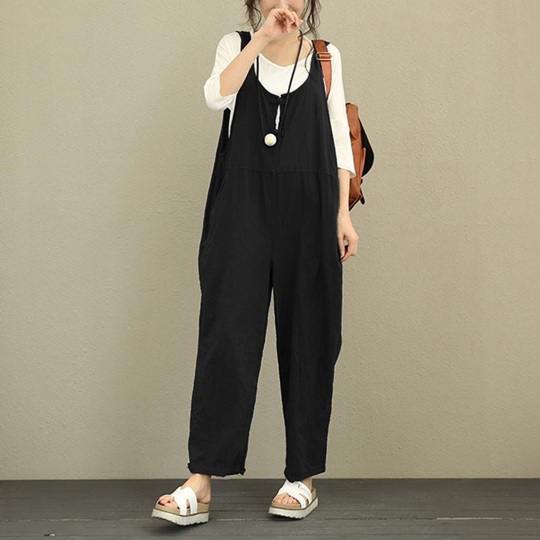 Korean Women Oversized Jumpsuit Overalls Fashion Sleeveless Loose Long Playsuit Rompers Casual Plus Size Ladies Trousers Y19051501