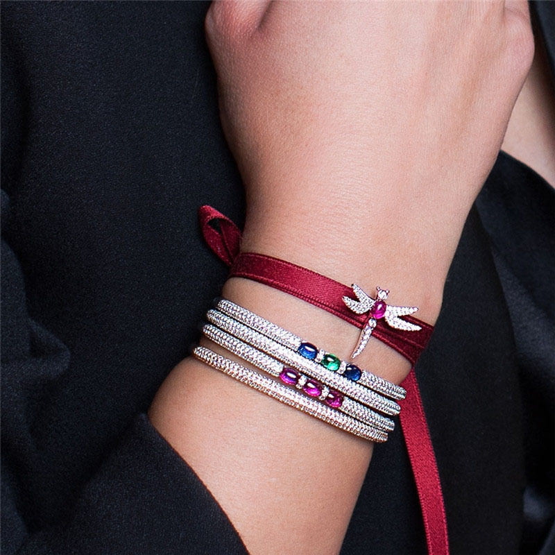 SLJELY Luxury Brand Design 925 Sterling Silver Micro Cubic Zirconia Stones CZ Bangle Women Lady Fashion Bracelet Cuff Jewelry C19010501