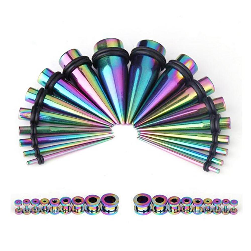 36 piezas de oreja cónica kit pendiente de acero inoxidable tornillo Fit fleseh túnel túneles 14G-00G kit de medidor de estiramiento