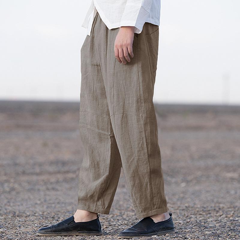 2019 Chinese Retro Men Harem Pants Elastic Waist Joggers Solid Vintage Loose Pants Cotton Hip-hop Streetwear Casual Trousers Men