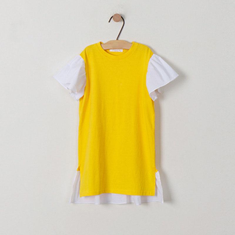 Ruffles Patchwork Little Big Girl Dresses Cotton Summer Yellow Kids Dresses Designs Teenager Children Boutique Clothes 2019 (1)