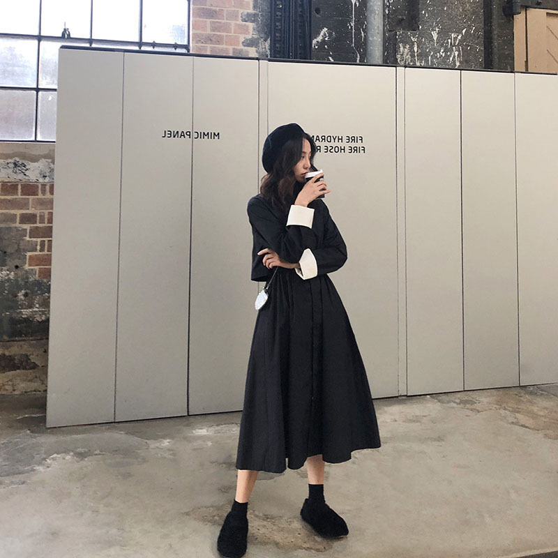 Love2019 Clothing Elegant Recommend ! Cuff Hit Color Search Edge Design Windbreaker Loose Coat Waist Umbrella Skirt Overcoat A Piece Of Hair
