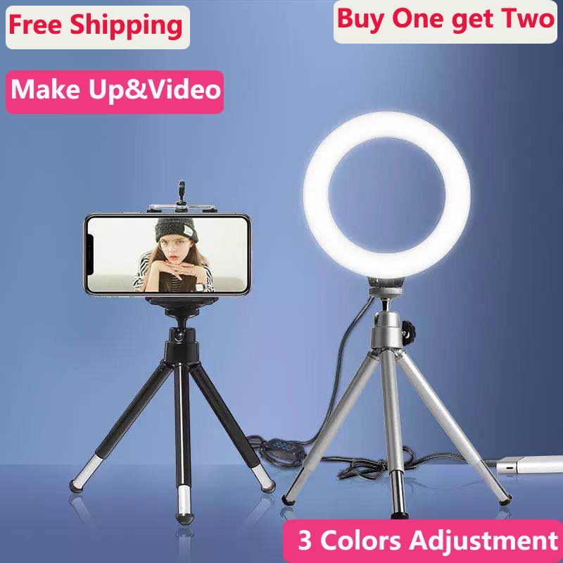 JION Led Self-Timer Ring Light with Tripod for Makeup//YouTube Video//Live//Vlog 3 Light Modes USB Plug Mini Led Video Light Portable Desktop Light with Cell Phone Holder