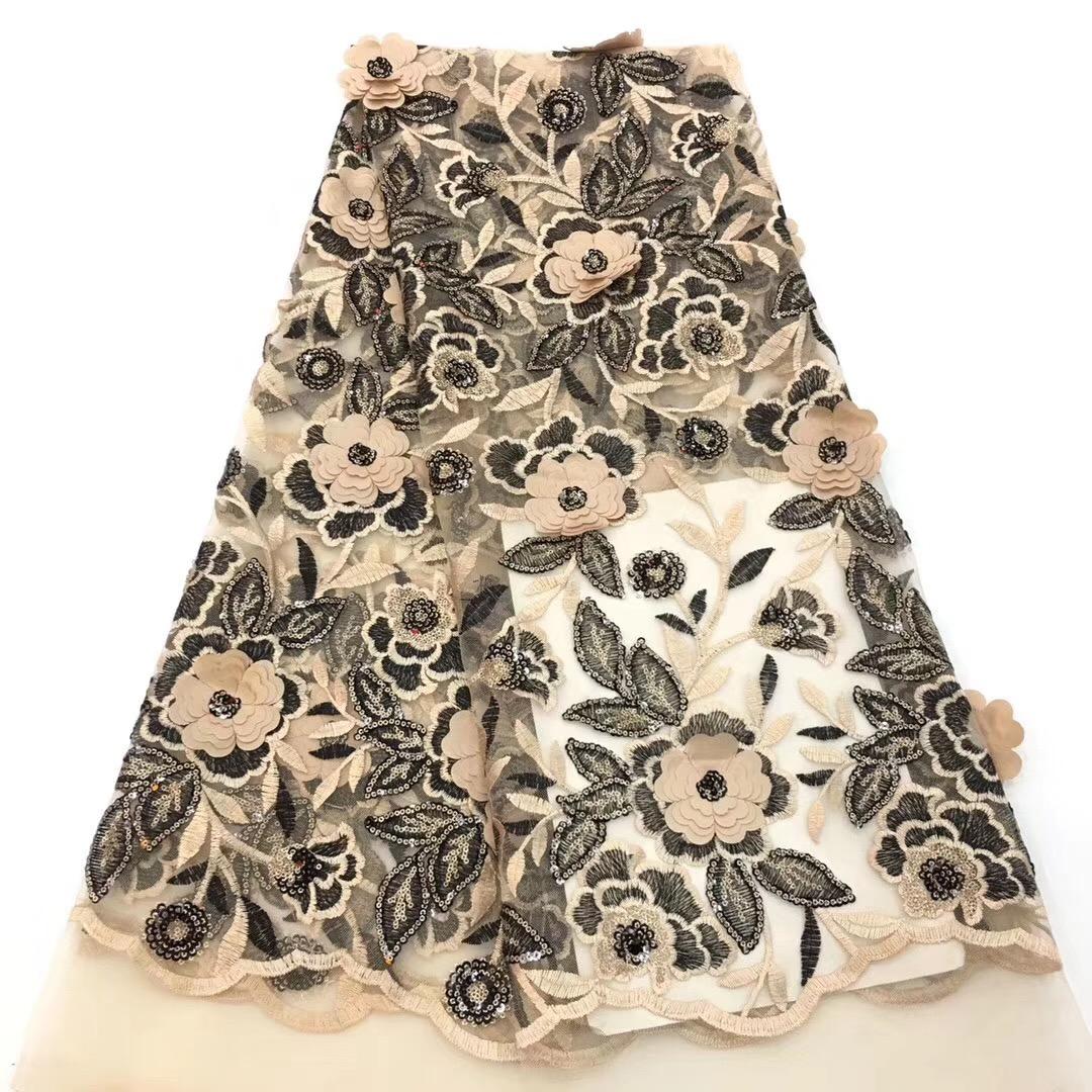 Di alta Qualità 2018 Ultime Tessuto Africano Del Merletto Paillettes Maglia Francese Tessuto di Pizzo Netto Guipure Velluto Nigeriano Tessuto di Pizzo CD2903
