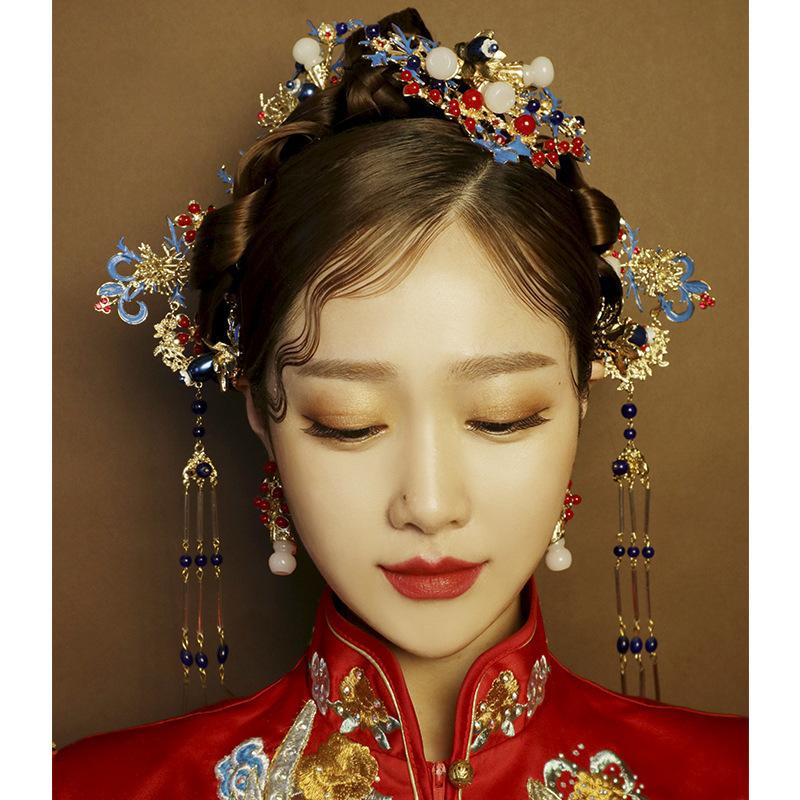 Chinesische Cloisonne Phoenix Krone Verzierung alten Kostüm Haarnadel klassische Hochzeit Drachen Haarschmuck C19010501