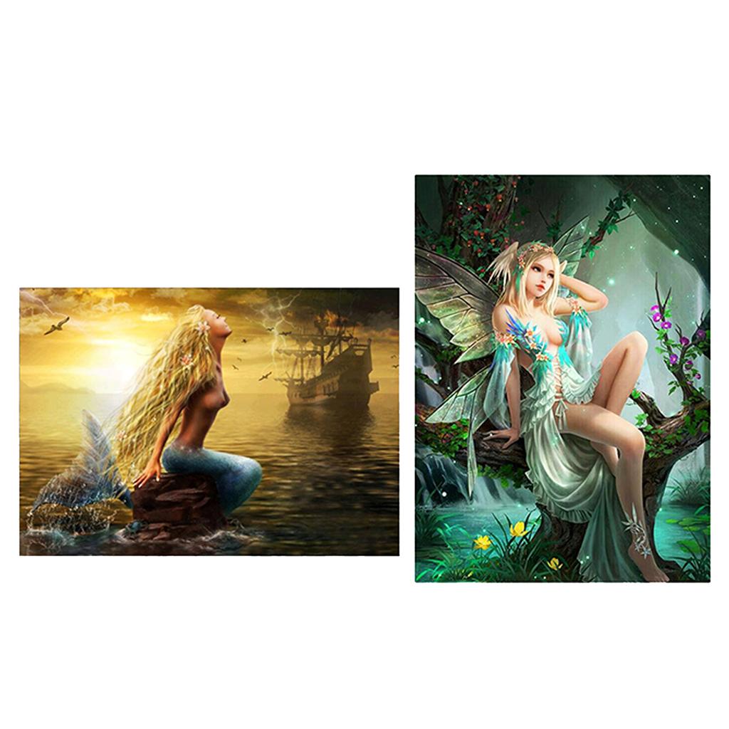 2pcs 5D DIY Diamond Painting Embroidery Kit Flower Fairy and Mermaid Rhinestone Picture DIY Room Decor