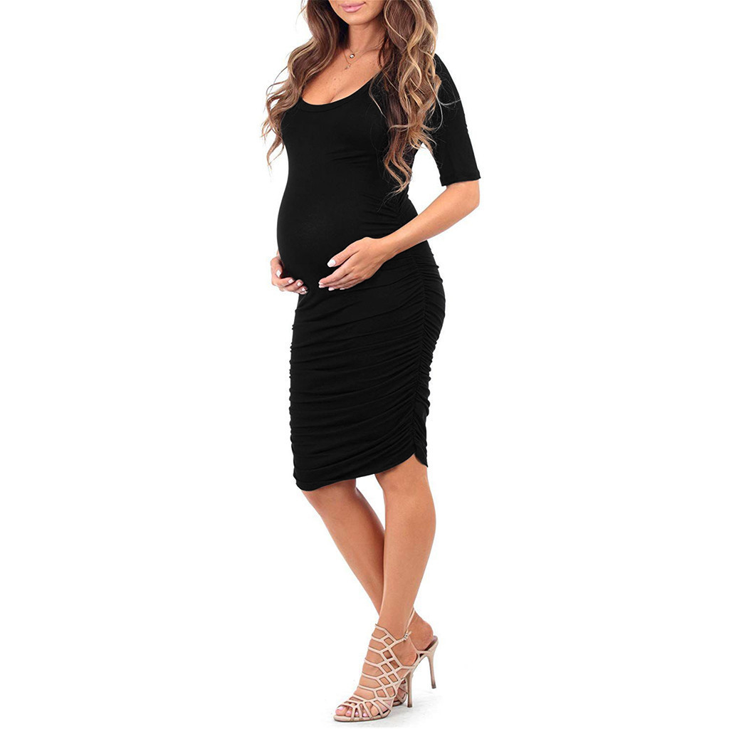 Women Maternity Dresses Baby Showers Ruched Short Sleeve Elegant Summer Nursing Long Dress Pregnancy Clothes Vetement Femme 19je