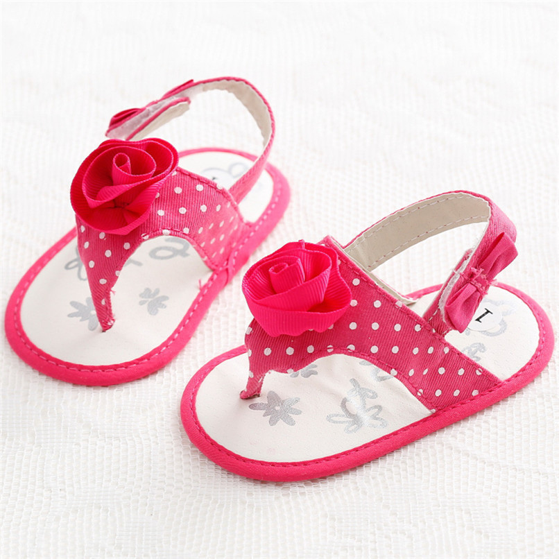 Summer Baby Girls Shoes Toddler Newborn Baby Girls Flower Dot Sandals Soft Sole Anti-slip Shoes Baby Girls Sandals M8Y16 (4)