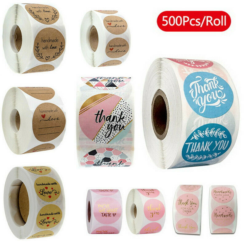 500pcs/roll 10 Styles Flowers Heart Thank You Adhesive Sticker Scrapbooking Handmade Business Packaging Seal Decoration Stickers