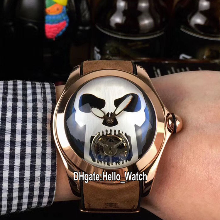 New Bubble Rose Gold Case L390/03694 Black Dial Silver Skull Tourbillon Automatic Mens Watch Brown Leather Strap Watches Hello_Watch 6 Color