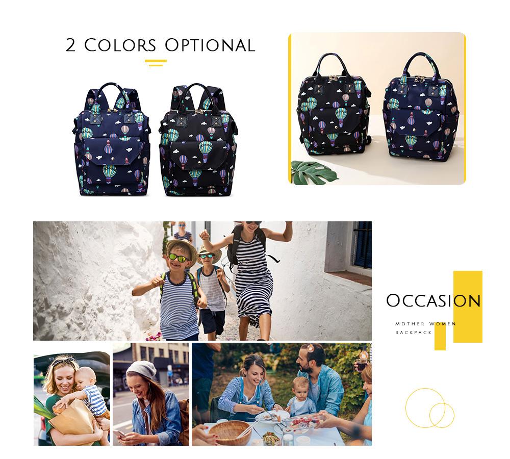 Diaper Bag Cute Pattern Waterproof Large Capacity Mother Women Backpack (4)