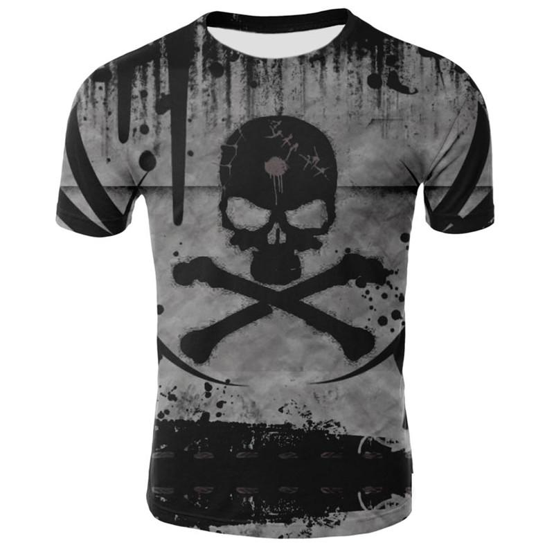 Skull Bone Skeleton Ghost  Men/'s T-shirt  Leisure Unisex Tops Summer Slim Tee