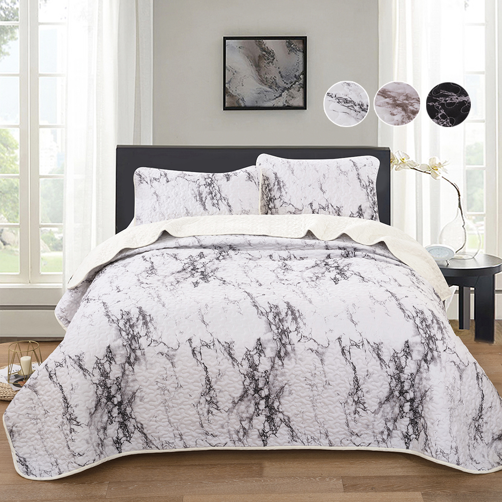 Luxury Jacquard Quilted Bedspread Throw 3 Piece King Size Grey Bedding Set
