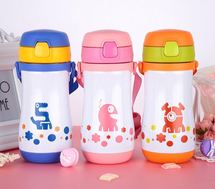 Cute Kids Straw Thermos Mug Stainless Steel Vacuum Children Bottle Cup 330ml