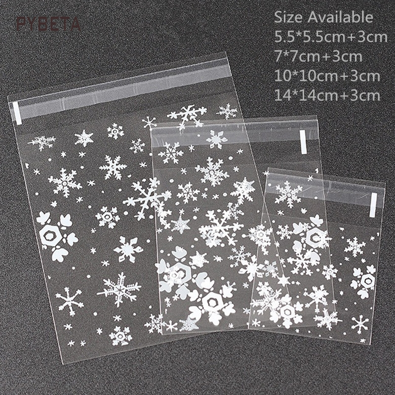300pcs/lot- Christmas Snowflake Self-adheive Pouch Transparent Plastic Biscuit Candy Baking Food Sample Gift Packaging Bags
