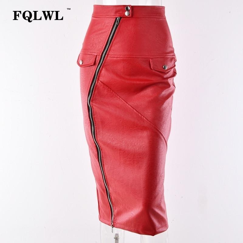 Fqlwl Faux Pu Leather Skirts Womens 2018 Zipper Split Pockets Red Skinny Wrap Midi Skirt Pencil Autumn Ladies Bodycon Sexy Skirt Y19060301